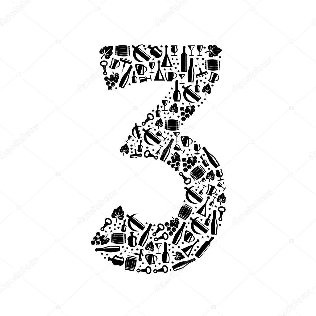 Numero De Vector Abstracto 3 De Vino Icono