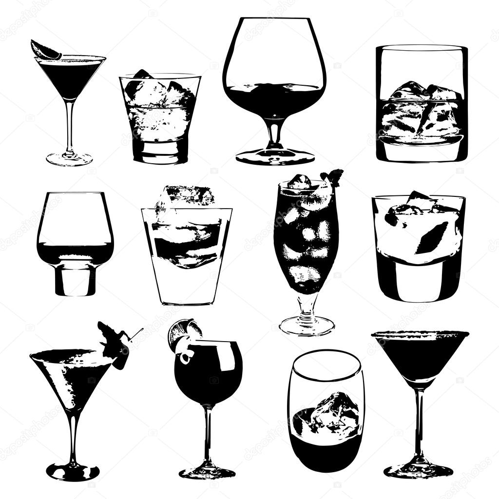Cocktails Set Vector Glasses Collection Drinking Whiskey