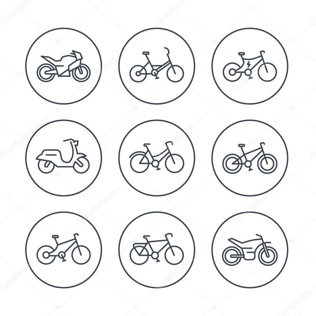 Linea De Bicicletas Iconos Icono De Bicicleta Ciclismo