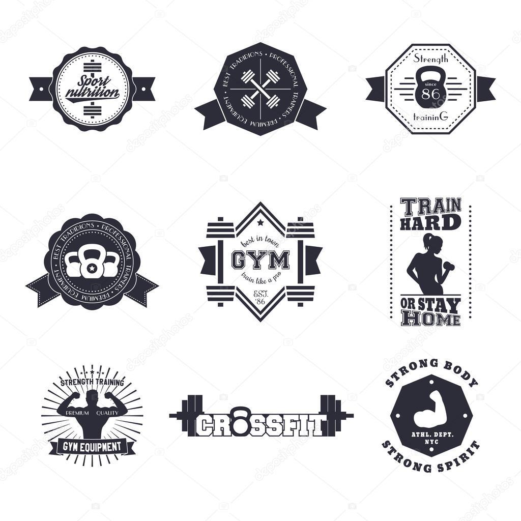 Fitness Gym Vintage Logos Emblems Signs Badge Labels