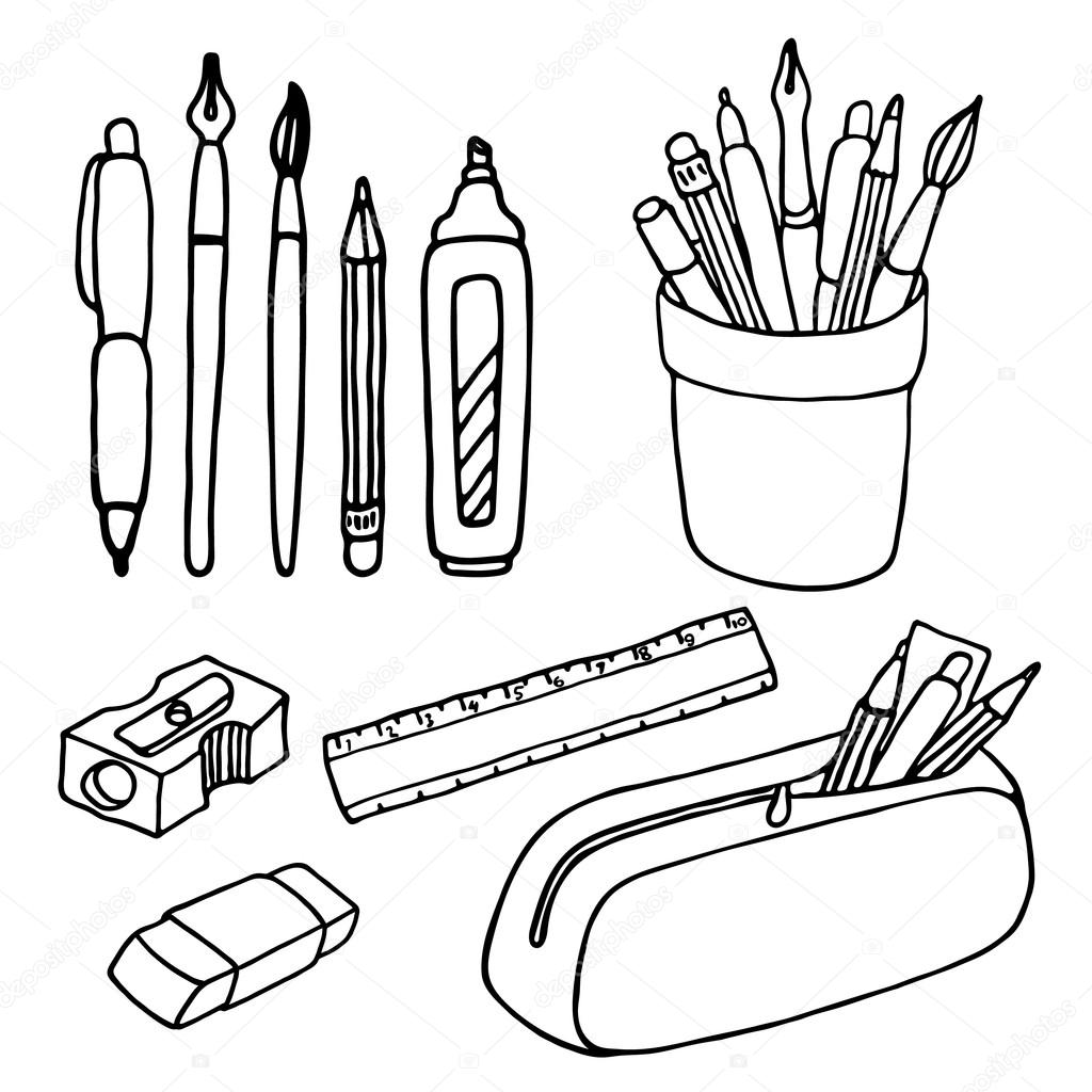 Brushes Pencils Pens Ruler Sharpener And Eraser Icons