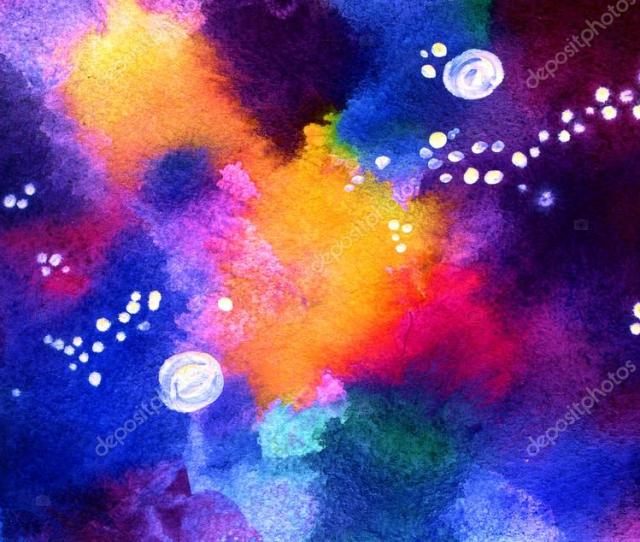 Watercolor Cosmic Background In Neon Colors With Wet Brush Strokes And Light Splashes And Stains Galaxy