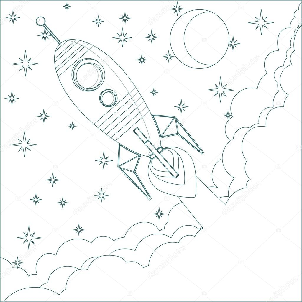 Cartoon Flying Rocket In The Sky With Moon And Stars