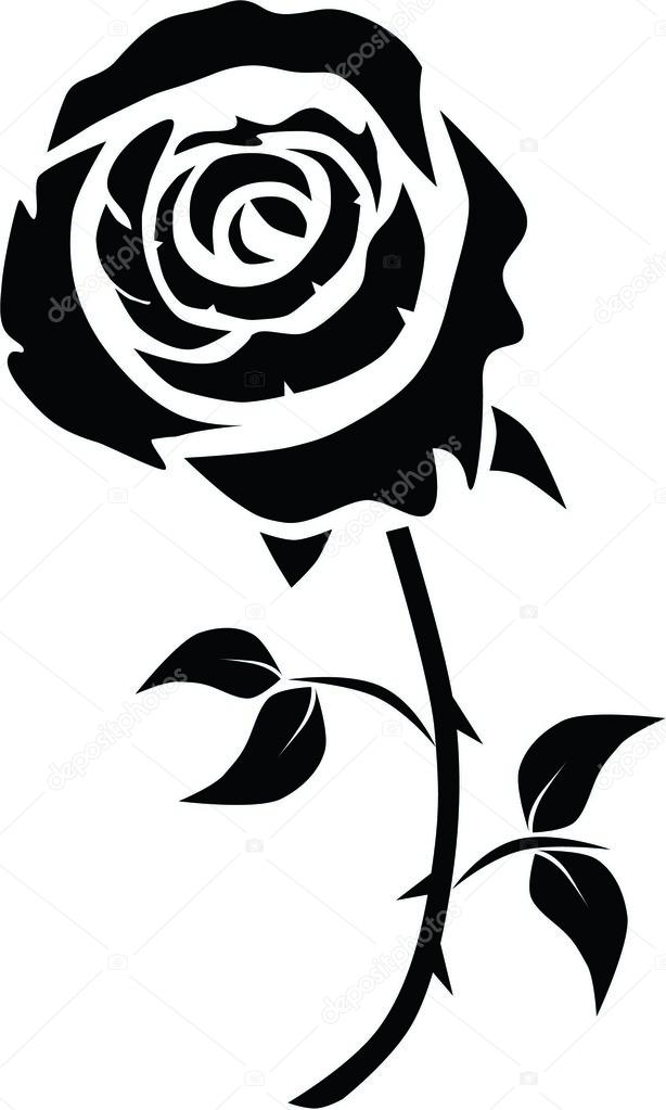 Black And White Rose Bud Tattoo