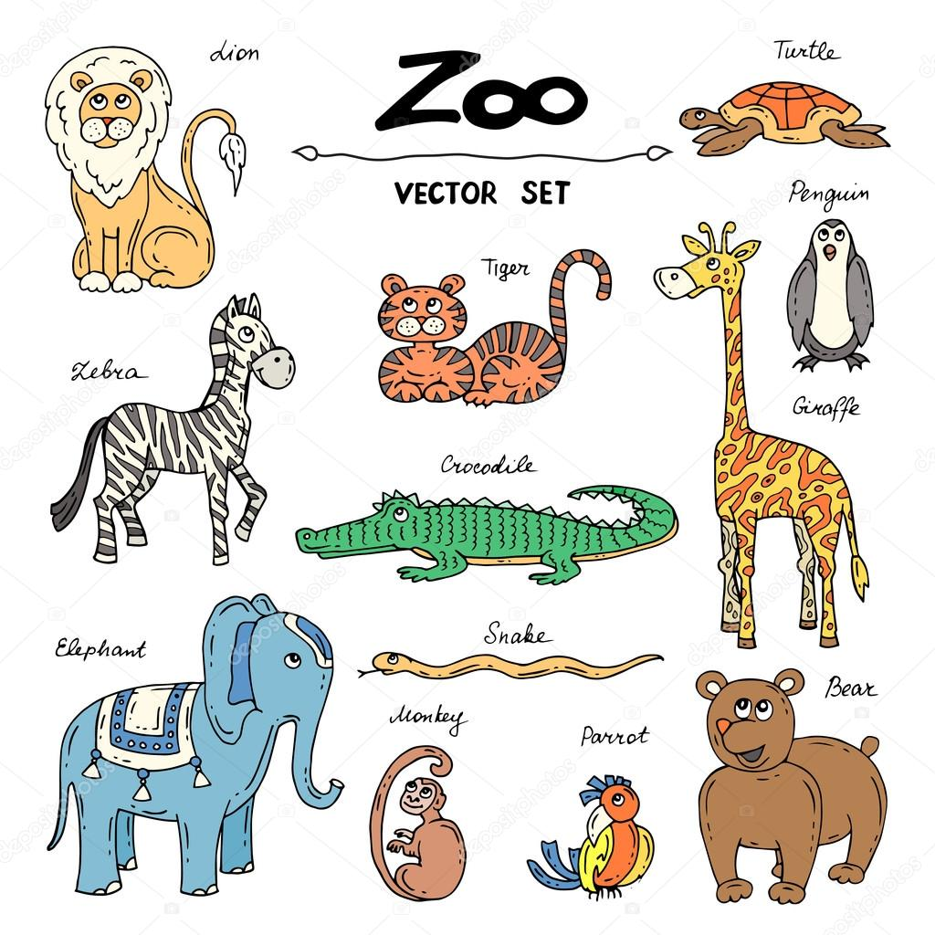 Vector Set With Hand Drawn Colored Doodles On The Theme Of