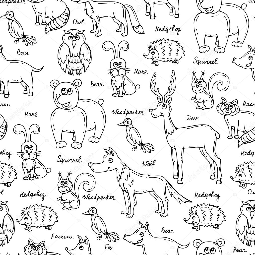 Vector Seamless Pattern With Hand Drawn Forest Animals On