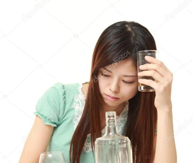 Japanese Woman Drunk Too Much Stock Photo