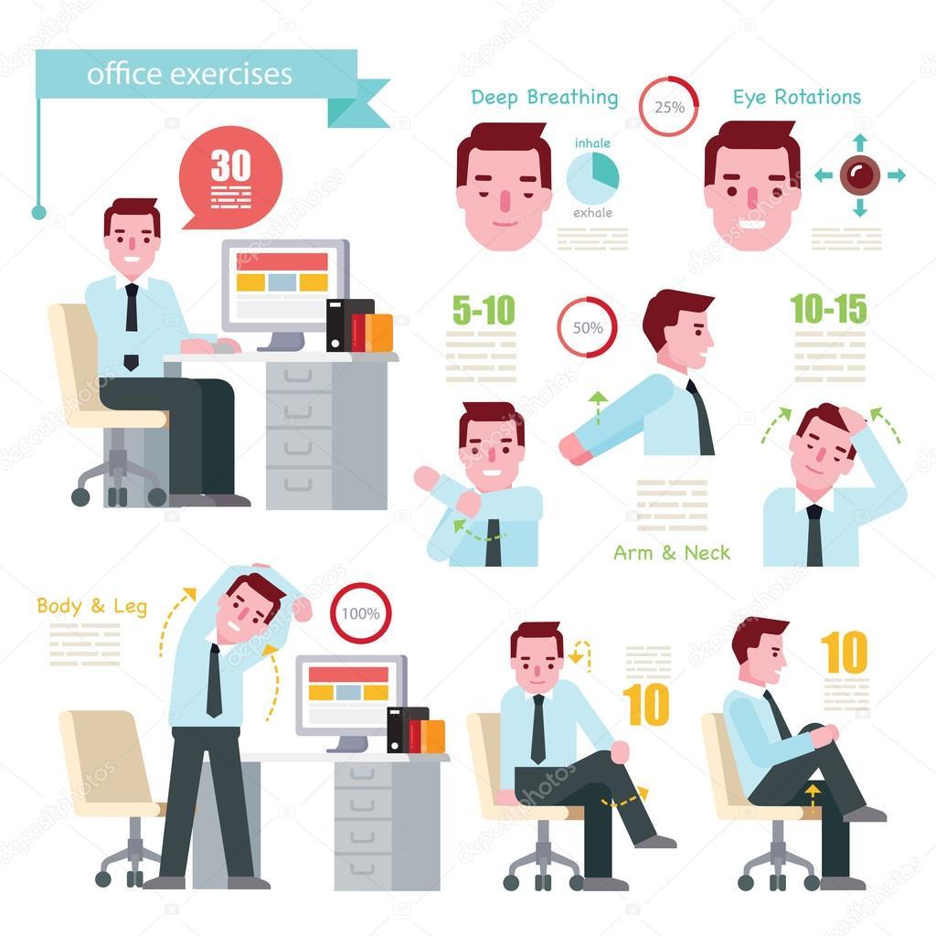 exercice de l homme au bureau image vectorielle