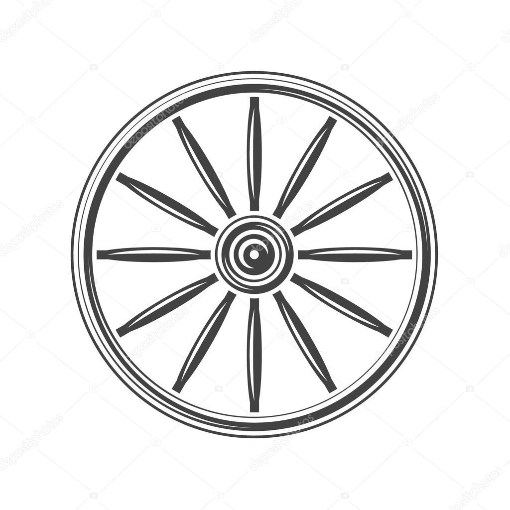 Old Western Wagon Wheel Black Icon Logo Element Vector