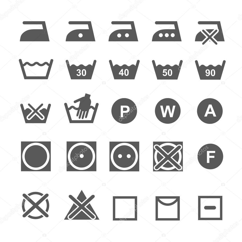 Conjunto De Simbolos De Lavado Iconos De Lavanderia