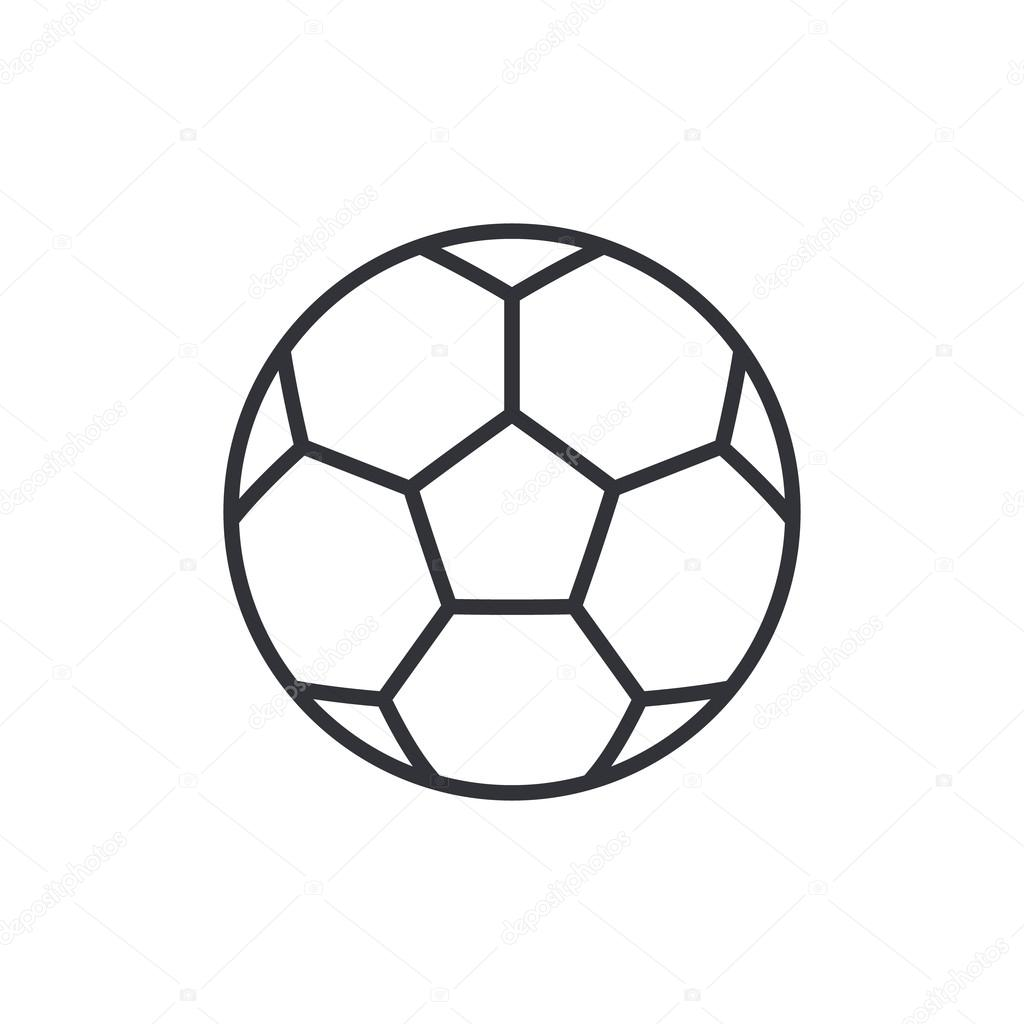 Football Soccer Ball Outline Icon Modern Minimal Flat