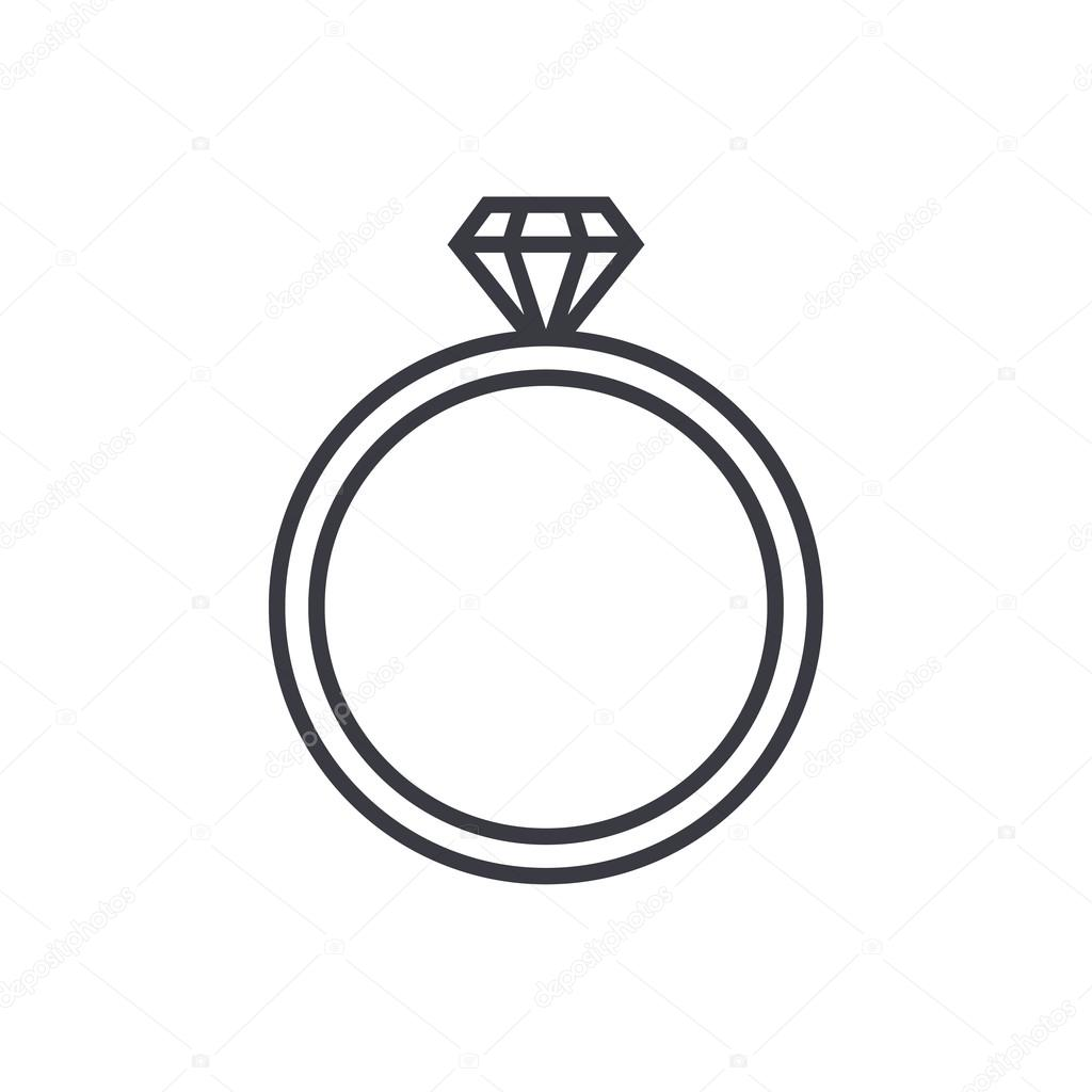 Diamond Wedding Ring Outline Icon Modern Minimal Flat