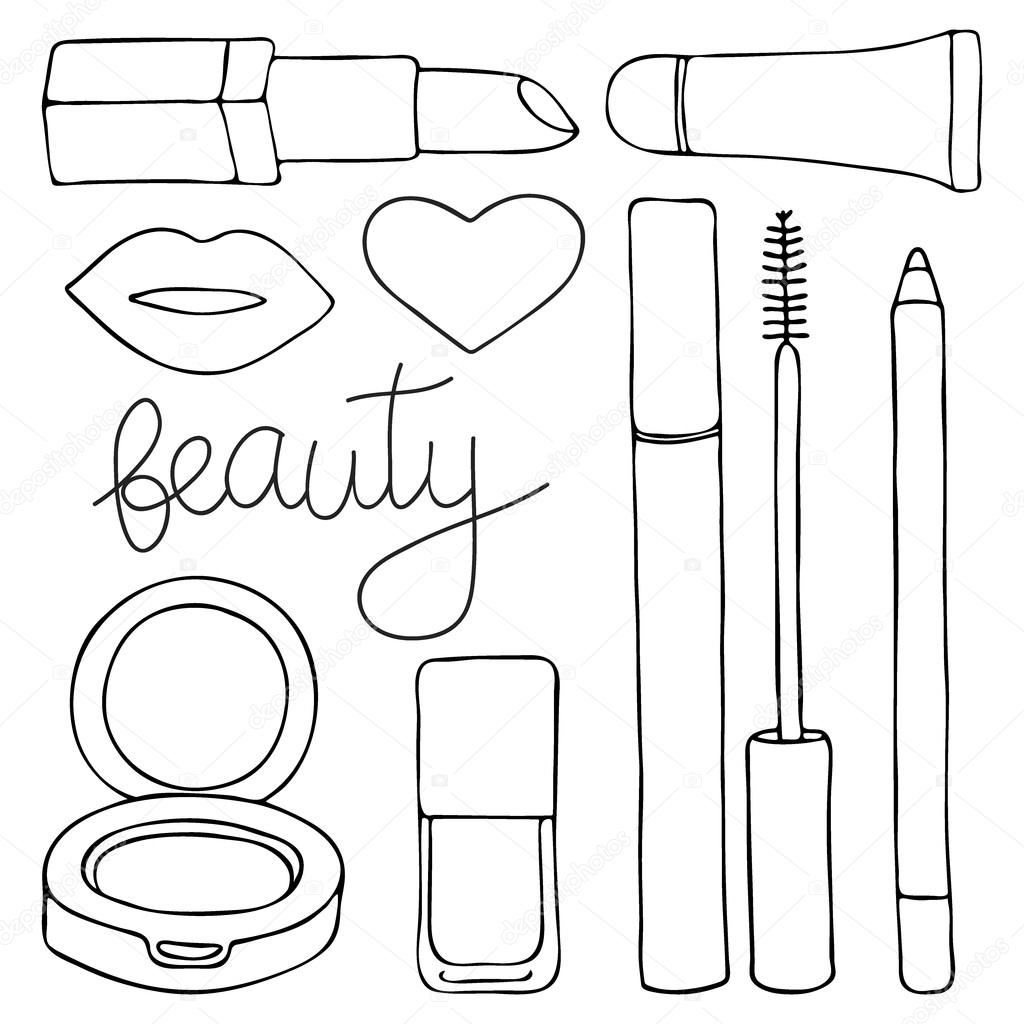 Cosmetics Or Make Up Set Hand Drawn Cartoon Collection Of