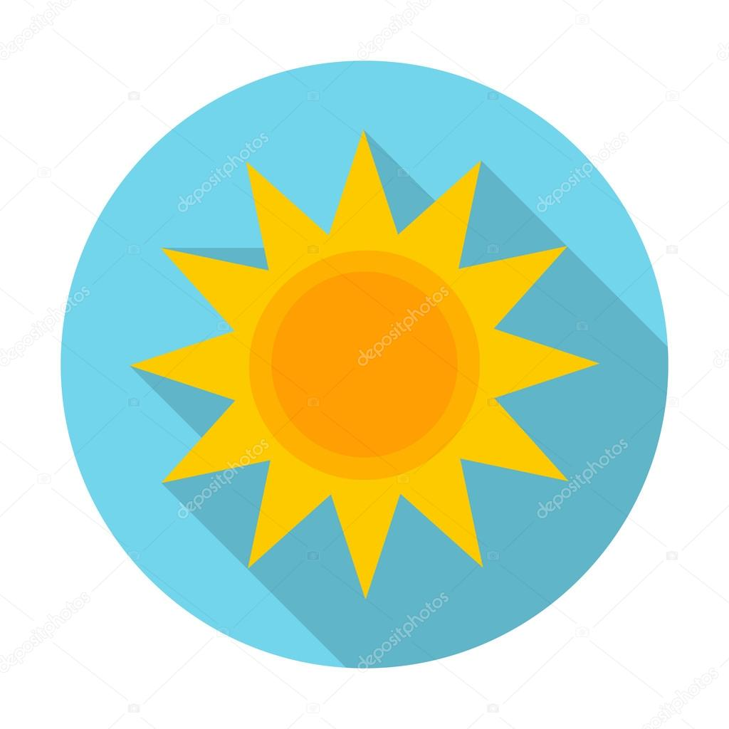 Sun Flat Icon With Long Shadow For Web