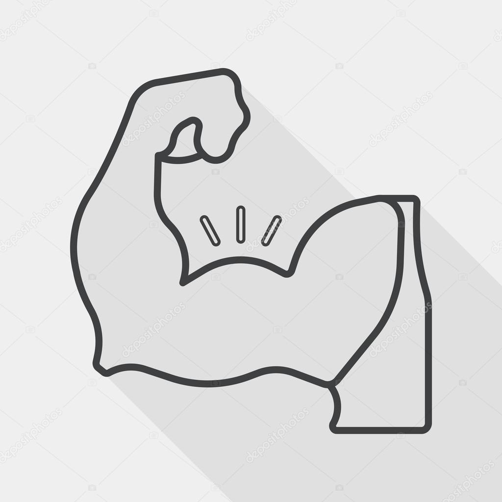 Muscle Man Flat Icon With Long Shadow Line Icon