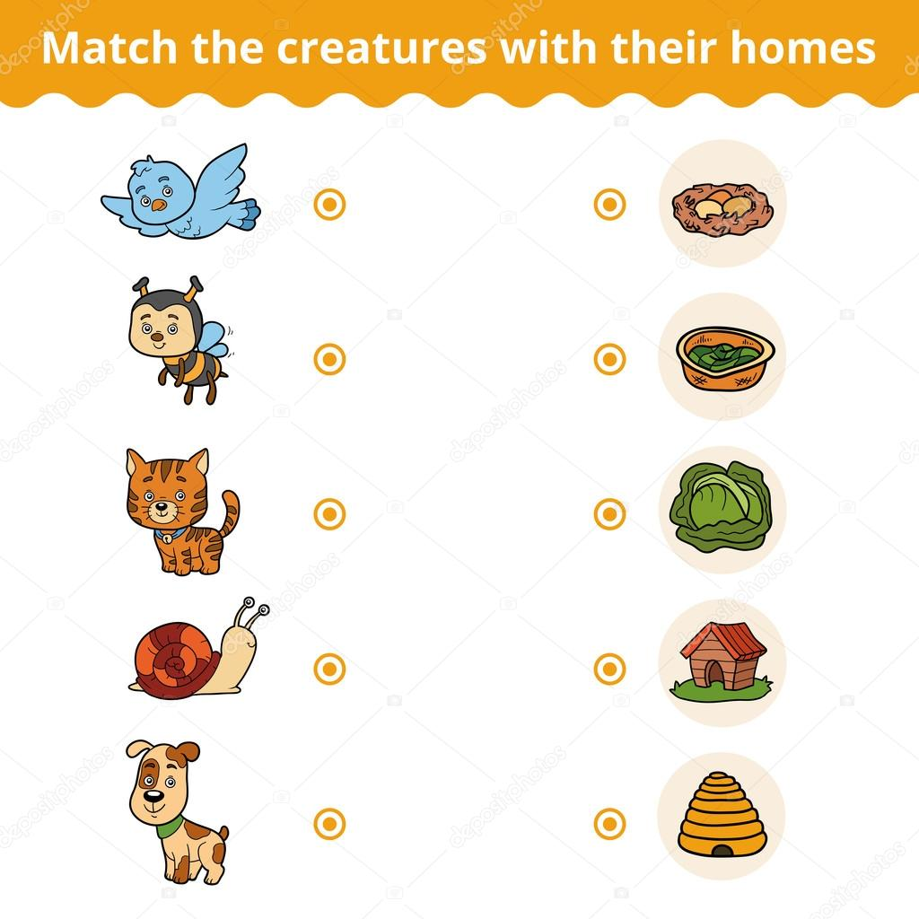 Matching Game For Children Animals And Their Homes