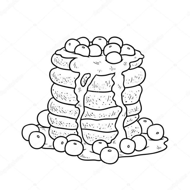 Coloring book, vector pancakes with blueberry Stock Vector Image