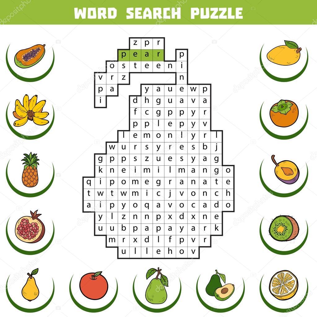 Parole Incrociate Di Colore Di Vettore Sui Frutti Puzzle