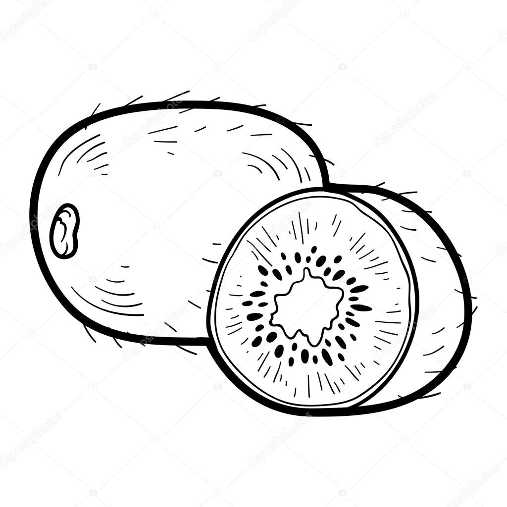 Coloring Book Fruits And Vegetables Kiwi