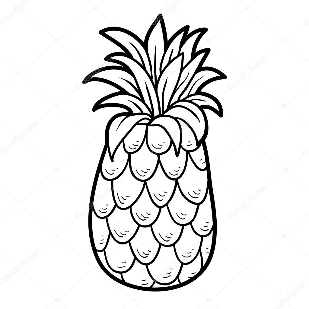 Coloring Book Fruits And Vegetables Pineapple