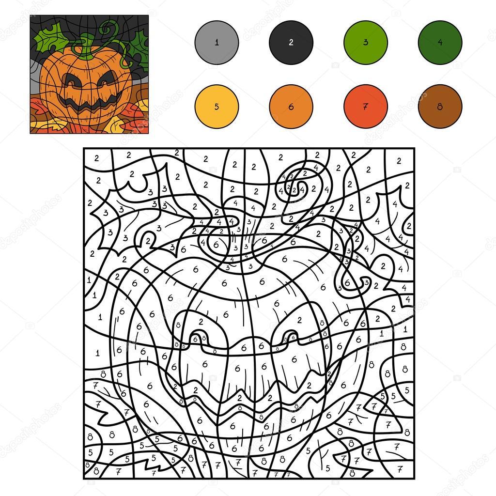 Kleur Van Getallen Halloween Pompoen