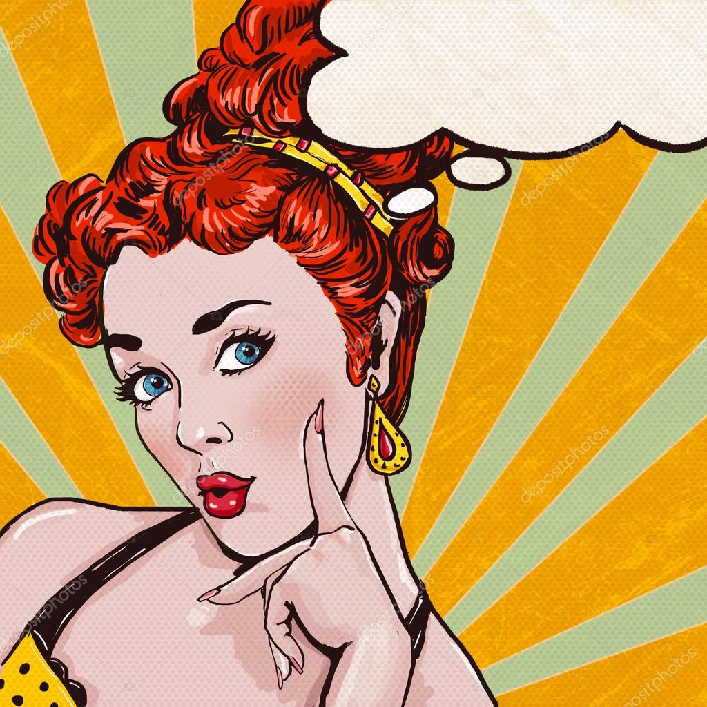 Pop Art Illustration Of Woman With The Speech Bubble Pop Art Girl Party Invitation Birthday Greeting Card Stock Photo Image By C Lucky2084 64826861