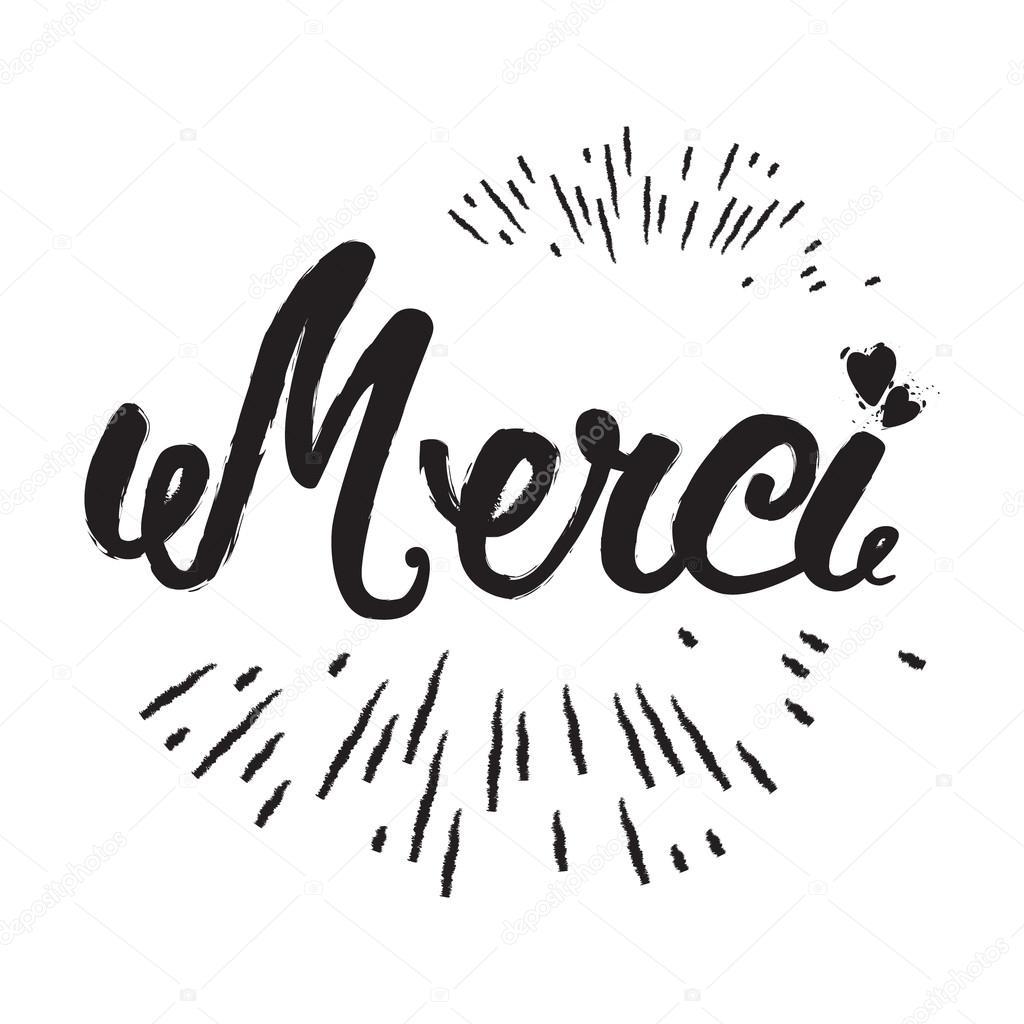 Merci A Main Lettrage Calligraphie Moderne Brosse Le Mot