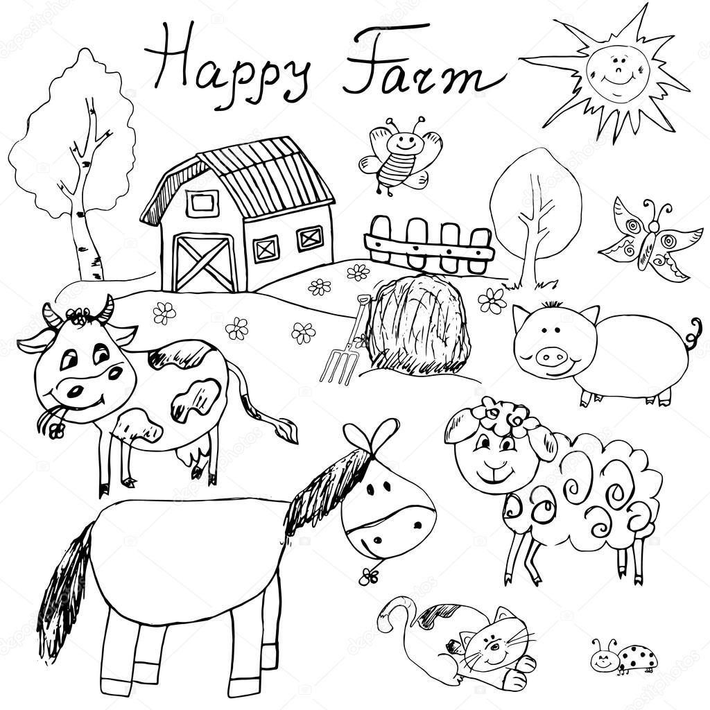 Happy Farm Kritzeleien Symbole Gesetzt Hand Gezeichnete