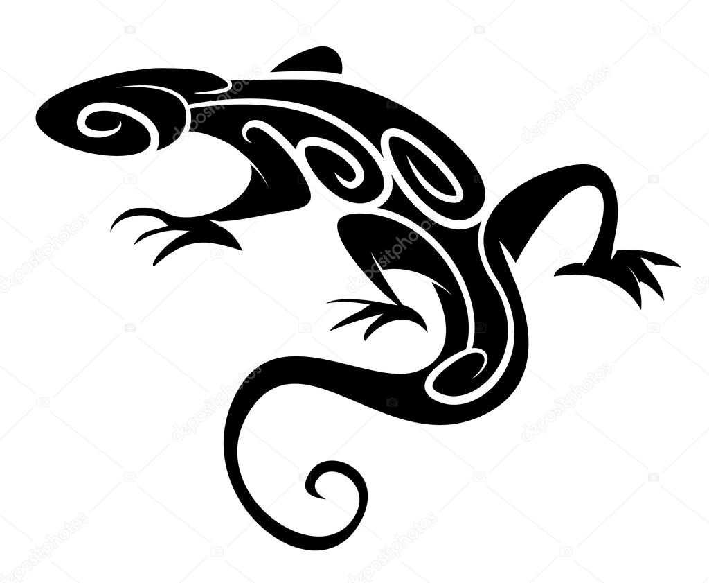 Black Silhouette Lizard Tribal Tattoo