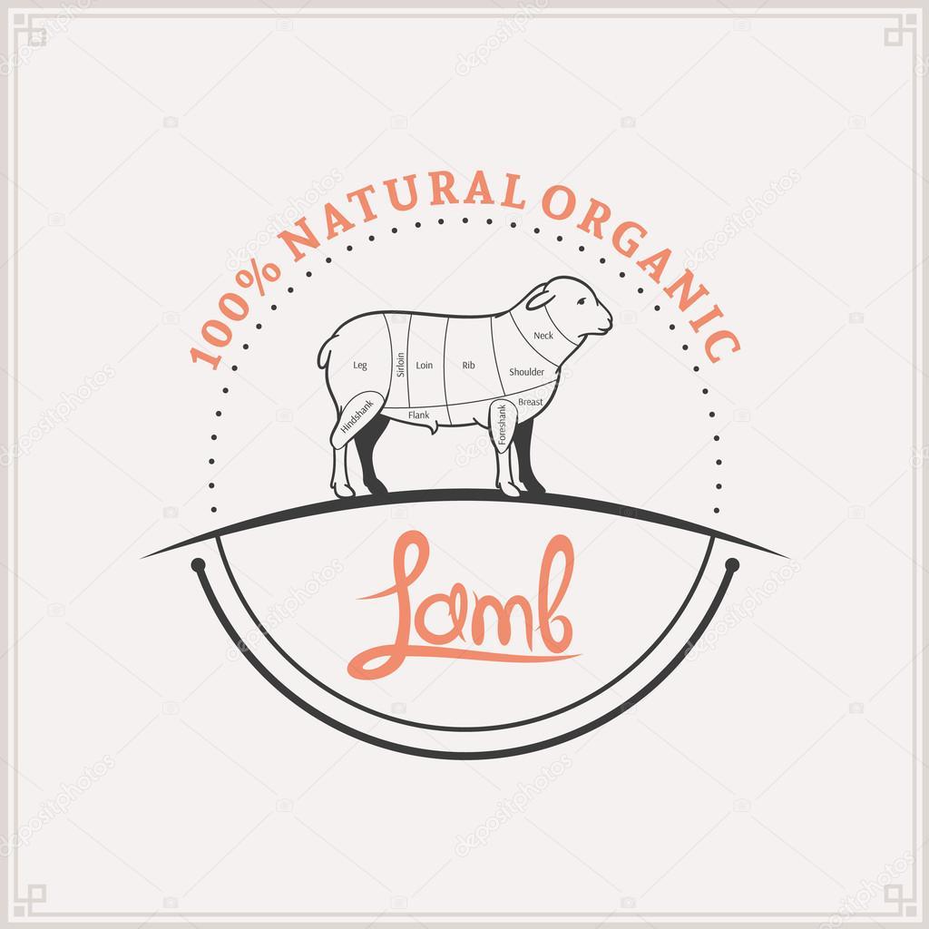 Butcher Shop Logo Meat Label Template Lamb Cuts Diagram