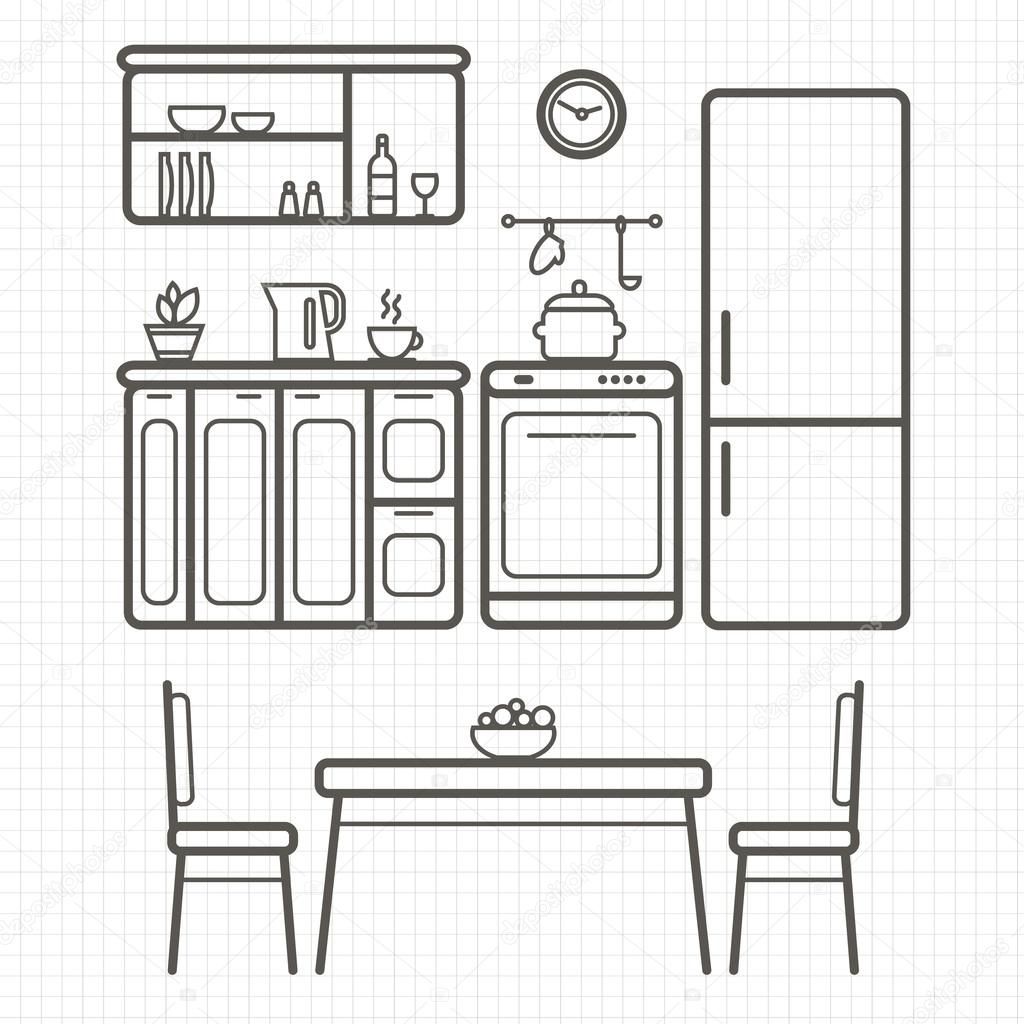 Kitchen Furniture Outline Sketch
