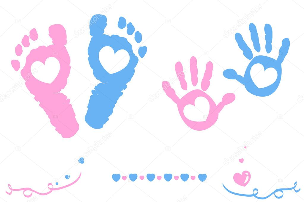 Download Twin baby girl and boy feet and hand print arrival card ...