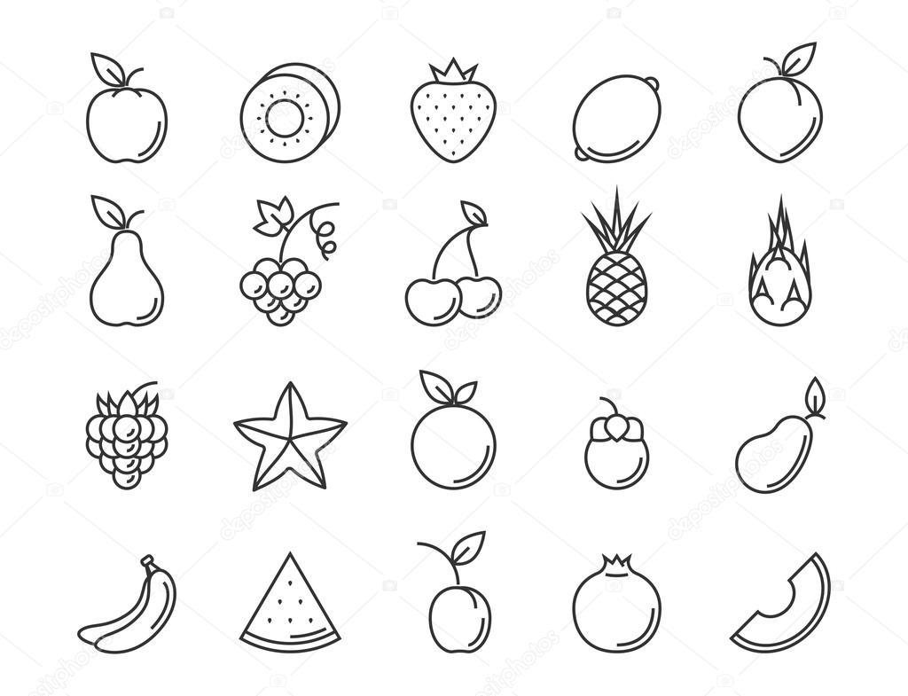 Fruit Outline Icon Set
