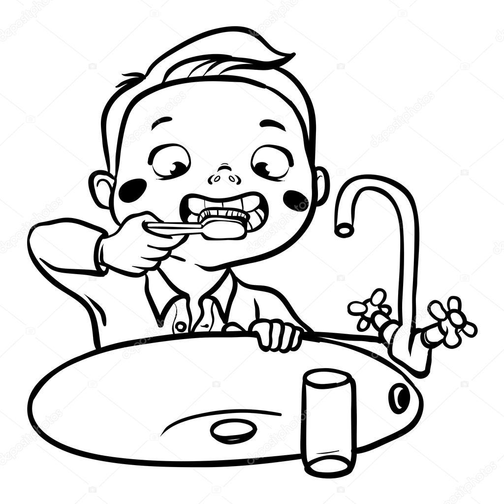 Menino De Desenho Animado Escovando Os Dentes Ilustracao