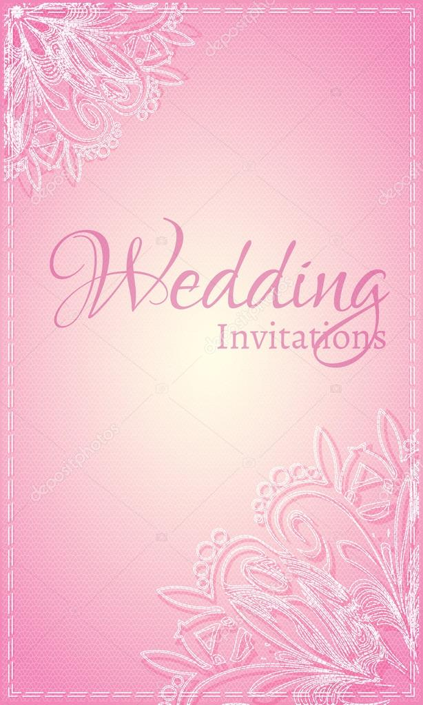 Vine Card With White Lace On A Pink Background For Greetings Wedding Invitation Or Flyer Vector By Yarkova