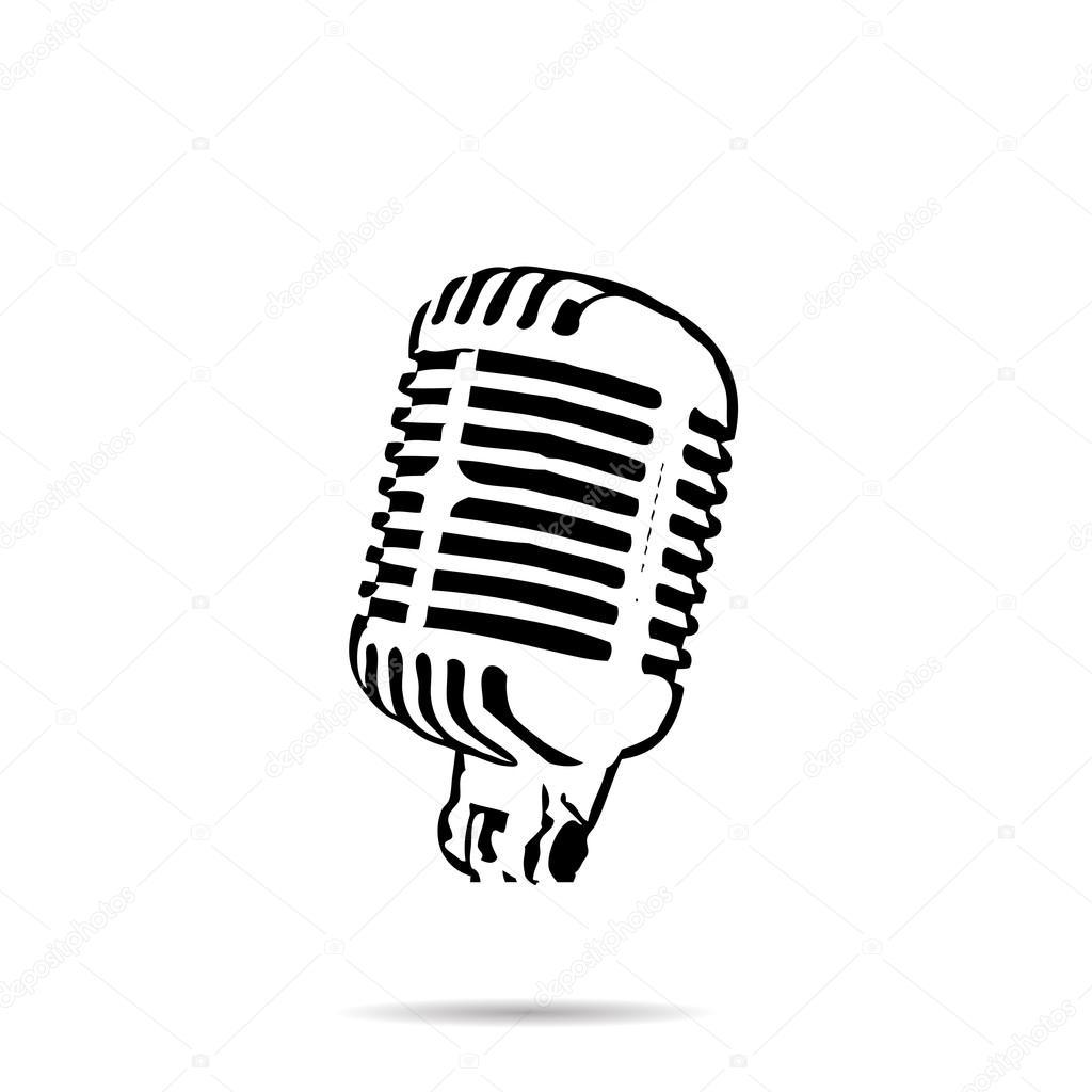 Vector De Silueta Negra Etapa Retro Microfono Icono