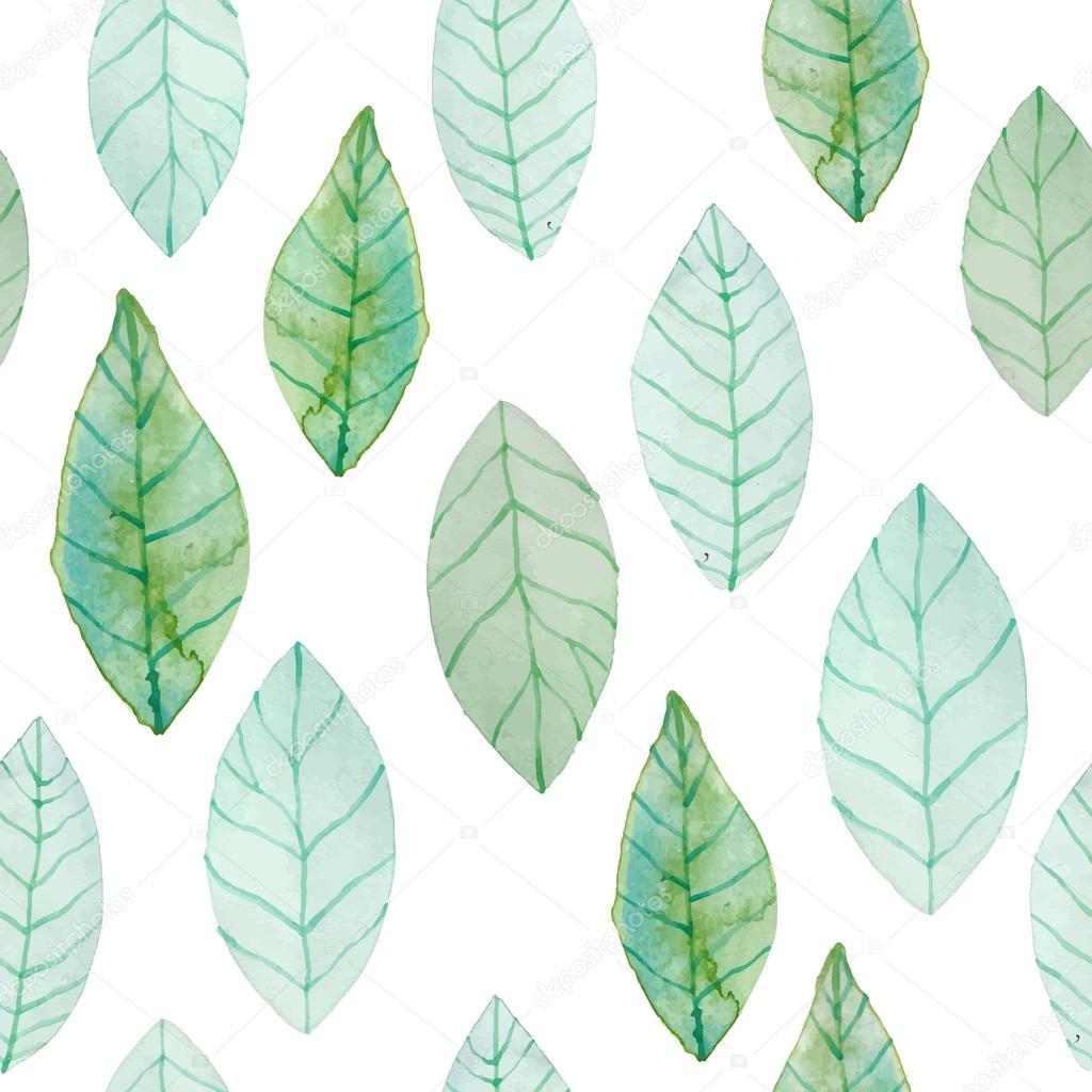 Watercolor Green Leaves Pattern
