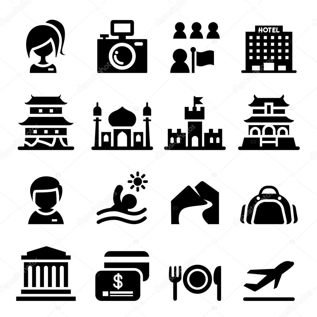 Insieme Dell Icona Di Turismo Design Grafico Illustrazione