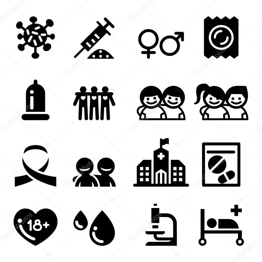 Sida Conjunto De Icones Hiv