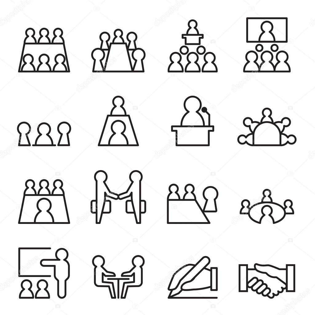 Conference Amp Meeting Icon Set In Thin Line Style