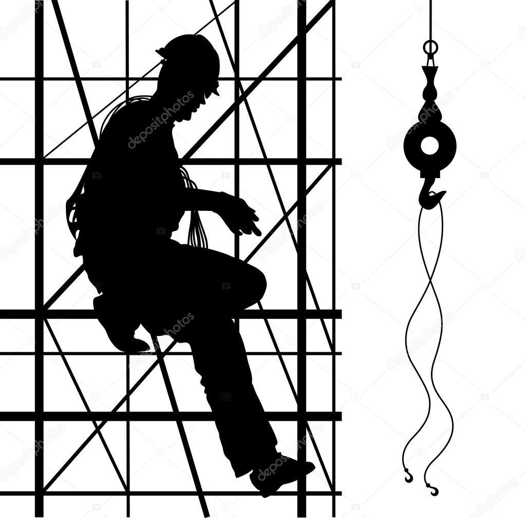 Worker Is Climbing On Metal Scaffolding