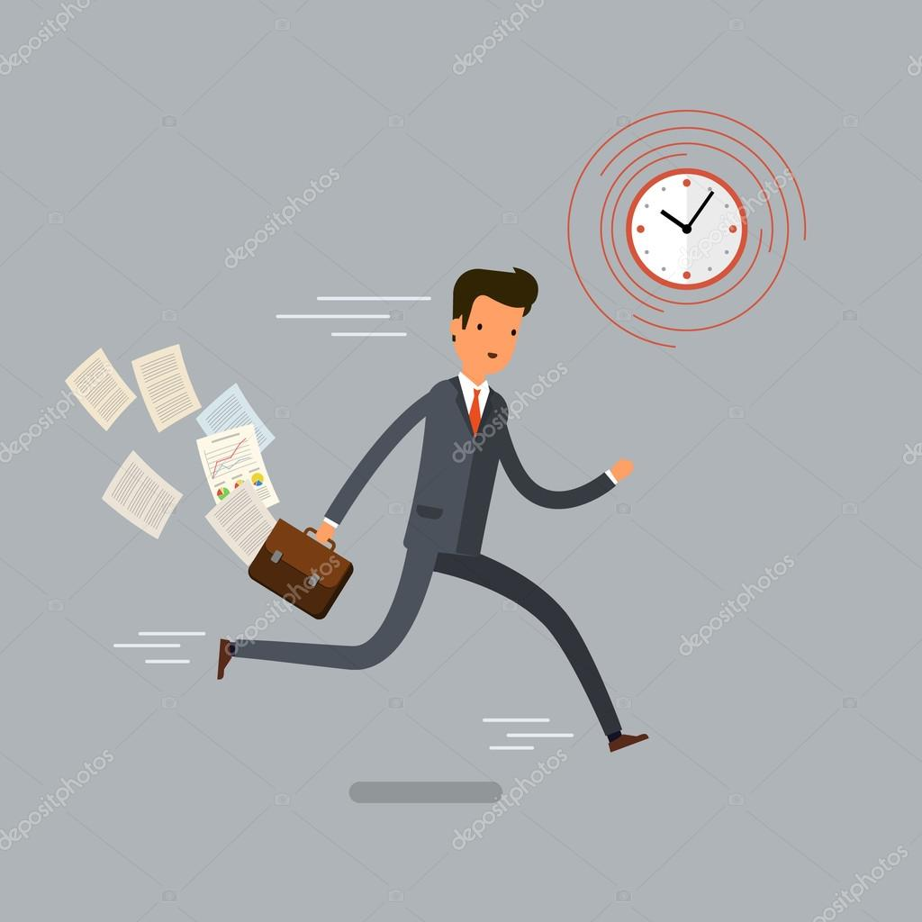 Businessman Running And Hurry Up Flat Design Vector Illustration Vektor Av