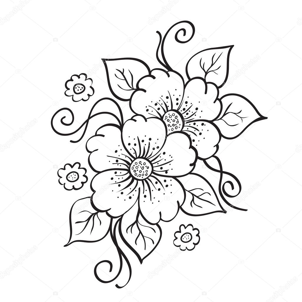 Abstract Hand Drawn Flowers Sketch Stencil