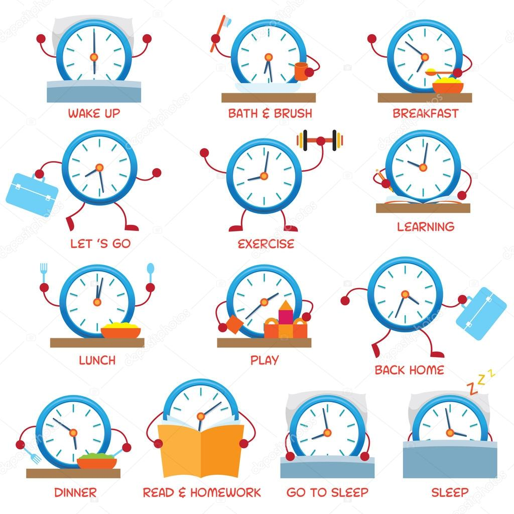 Clock Character Daily Routine Timetable