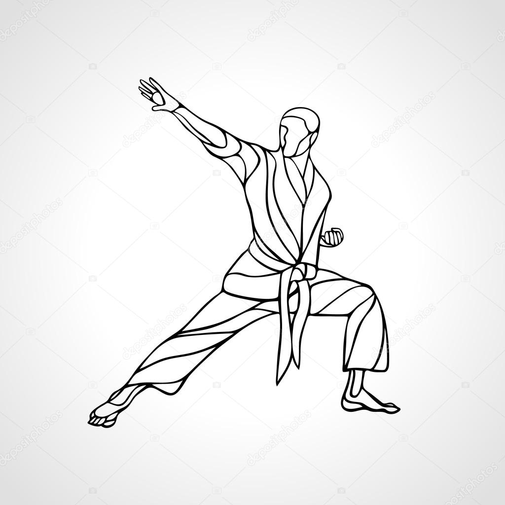 Martial Arts Pose Silhouette Karate Fighter