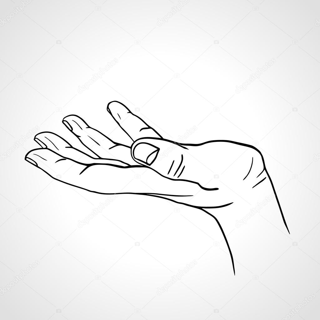 Side View Of A Line Art Hand With Palm Up Isolated On A