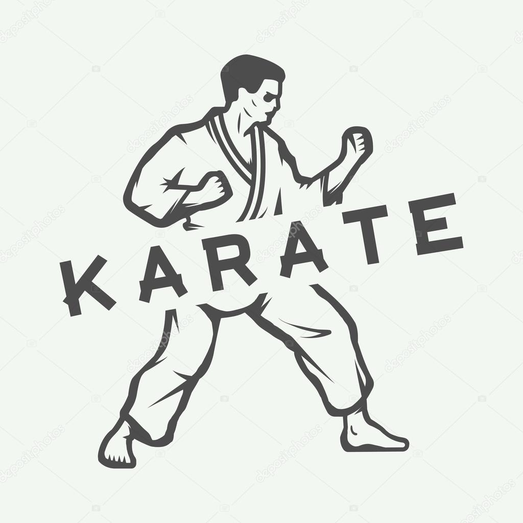 Vintage Karate Or Martial Arts Logo Emblem Badge Label