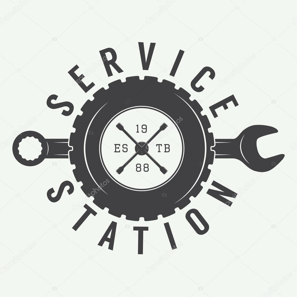 Vintage Mechanic Label Emblem And Logo