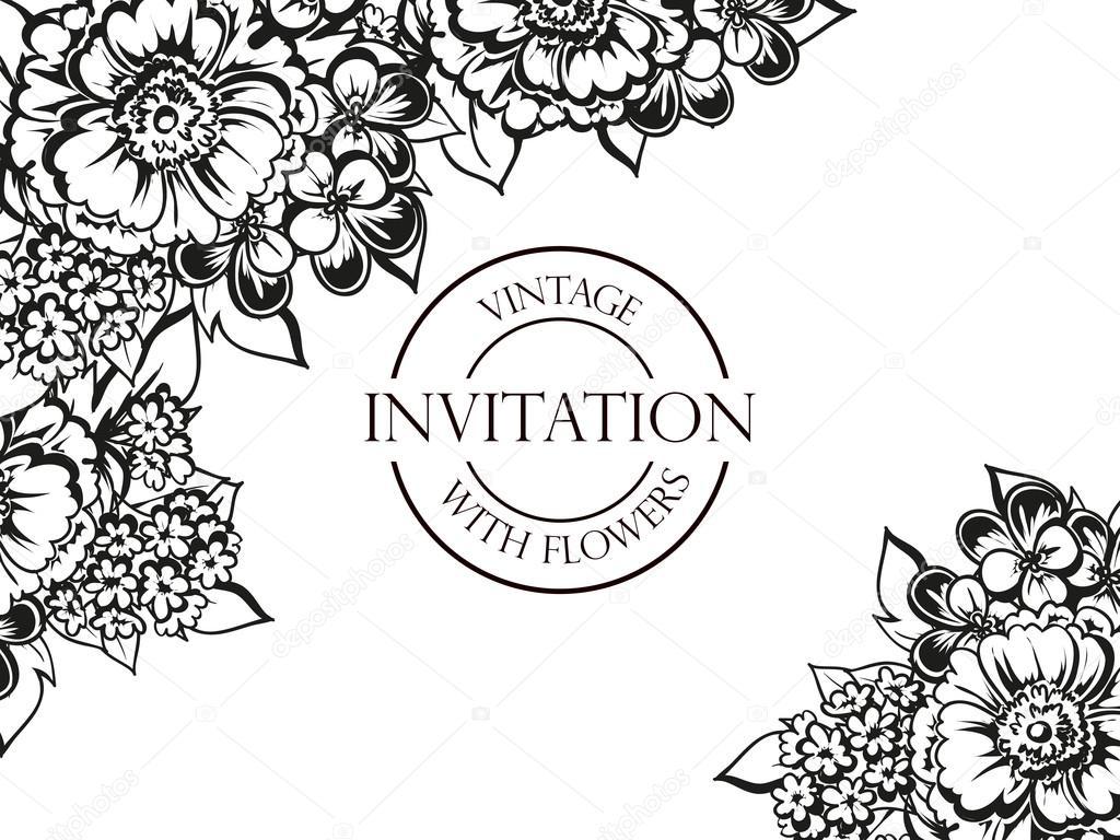 https depositphotos com 106898528 stock illustration black and white wedding invitation html
