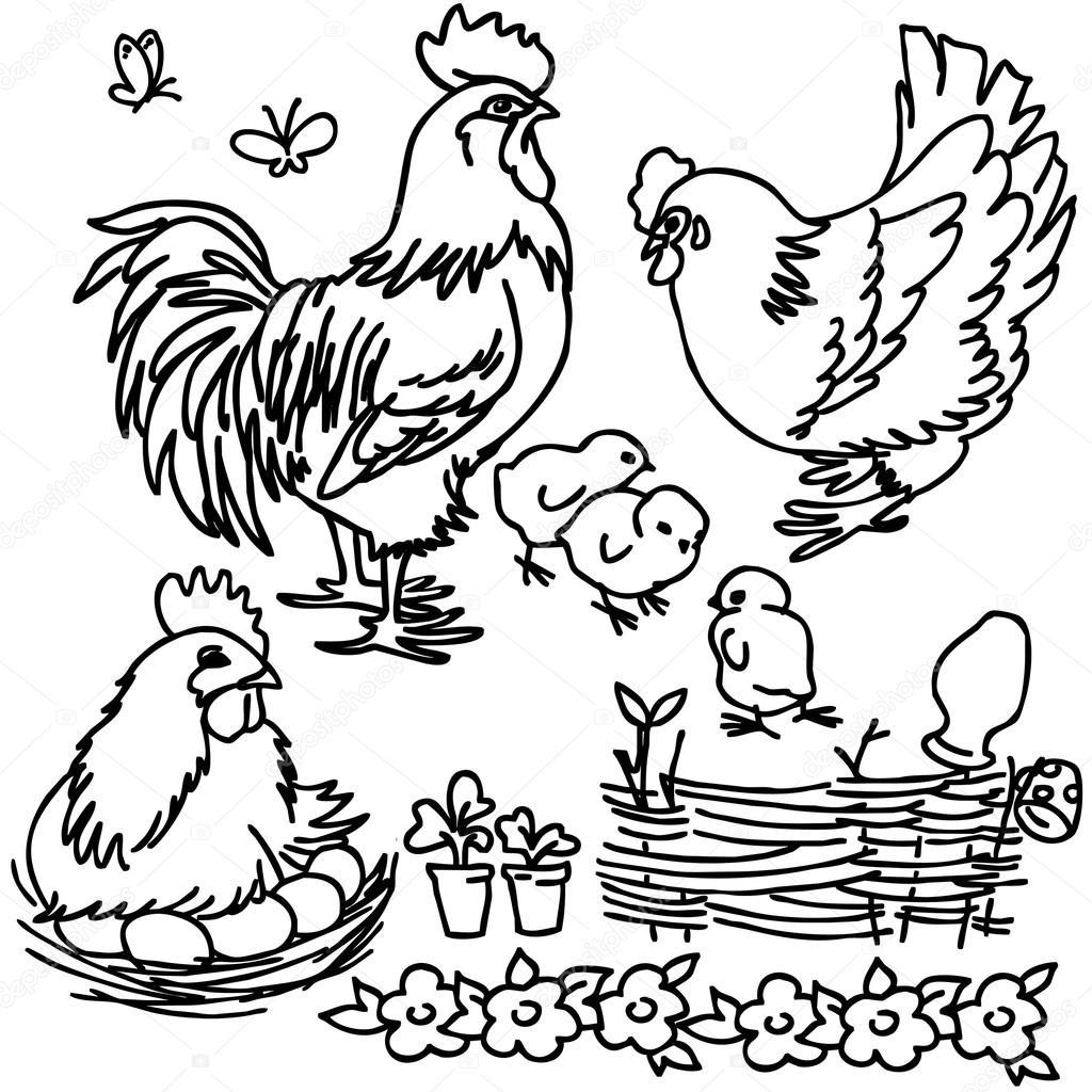 Coloring Book Cartoon Farm Animals Vegetables Fruits